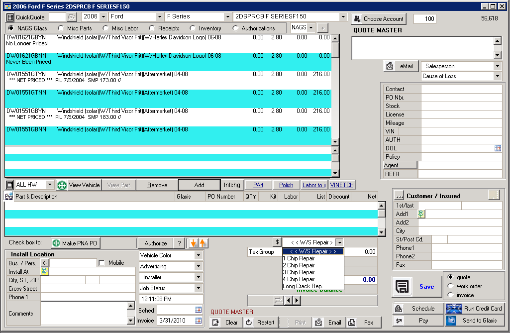 Creating A Windshield Repair Invoice Data Tranz Support